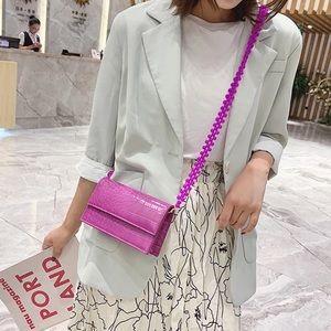 Purple Crossbody Beaded Leather Bag